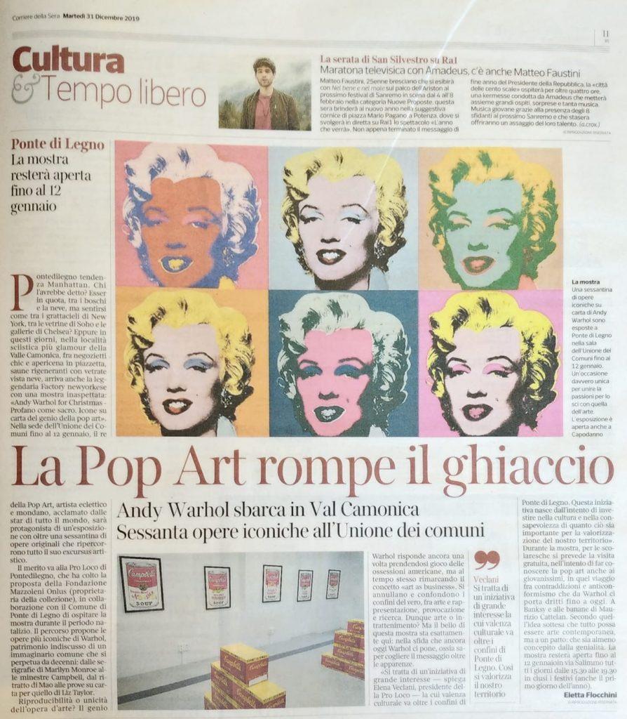 Corriere della Sera mostra Andy Warhol a Ponte di Legno dicembre 2019