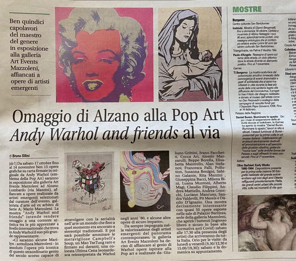Quotidiano Prima articolo Mostra Andy Warhol and Friends ad Alzano