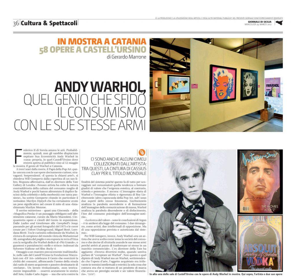 Giornale di Sicilia Andy Warhol a Catania